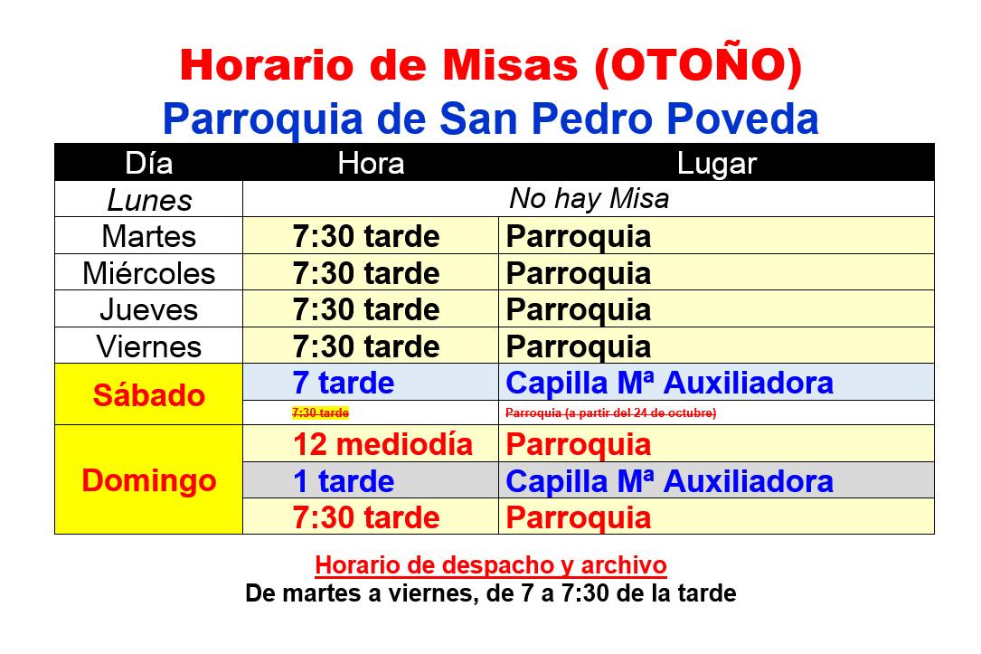 Horario de Misas Octubre 2015 - Marzo 2016
