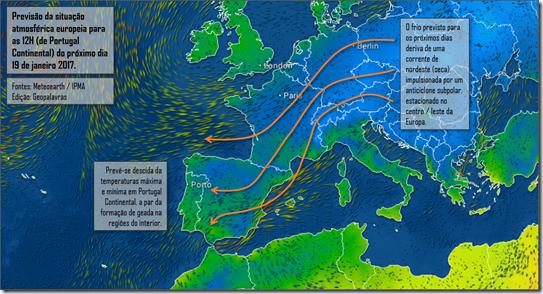 Previsão da situação atmosférica europeia para o próximo dia 19 de janeiro 2017