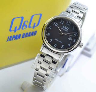 jam tangan Q&Q BL63J205Y date silver chain black