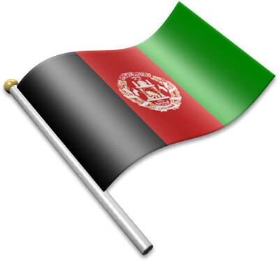 The Afghan flag on a flagpole clipart image