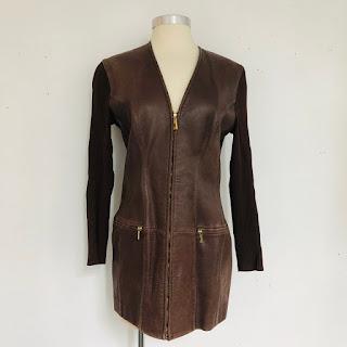 Céline Vintage Leather and Knit Jacket