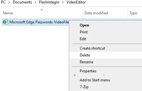استيراد تصدير كلمات مرور Edge ، حذف