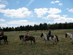 Trail ride near elk herd, Paseo del Lobo July 13-15 (Photo by C. Miller)