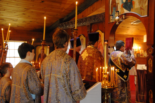 The Little Entrance - the procesion with the Gospel.