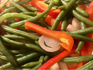 green beans red peppers and purple shallots vegetable medley