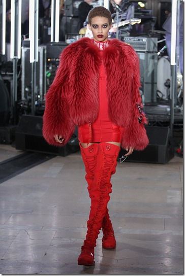 NEW YORK, NY - FEBRUARY 13:  A model walks the runway wearing look # 4 for the Philipp Plein Fall/Winter 2017/2018 Women's And Men's Fashion Show at The New York Public Library on February 13, 2017 in New York City.  (Photo by Thomas Concordia/Getty Images for Philipp Plein)
