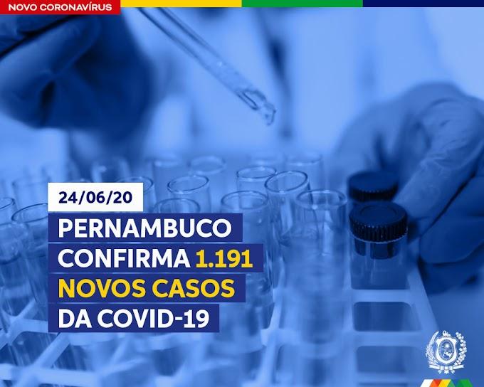 Pernambuco confirma 1.191 novos casos da Covid-19 nesta quarta (24)