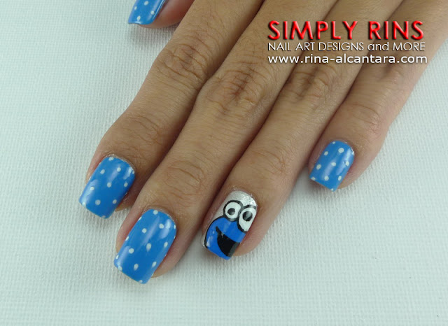 Cookie Monster Nail Art Design