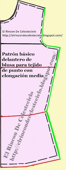 Básico delantero de blusa para tejido de punto con elongación medida marcando costura dentro del patrón