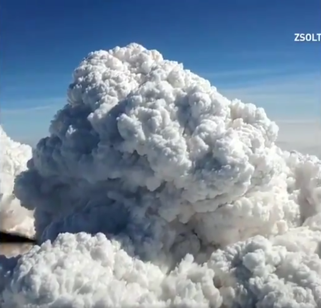 Aerial video captured by pilot Zsolt Timar-Geng of a huge pyrocumulus cloud over Burns Lake on 20 August 2018, showing the scale of wildfires raging in British Columbia. Photo: Zsolt Timar-Geng / Twitter