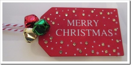 Crafts wooden Merry Christmas Tag with Jingle Bells