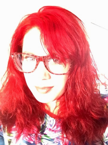 red hair, specs post glasses