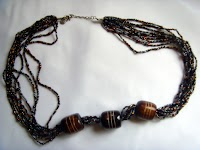10 Strand Triple Bone Bead Necklace (Long)