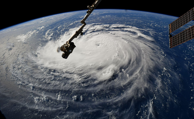 Hurricane Florence as seen from the International Space Station, 10 September 2018. Photo: Ricky Arnold