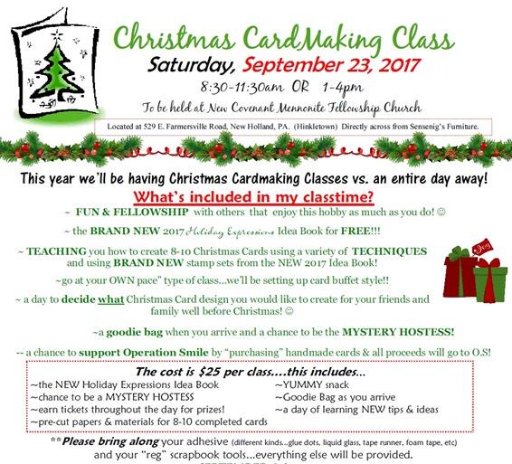 2017-9-23 Christmas Card Class details - flyer