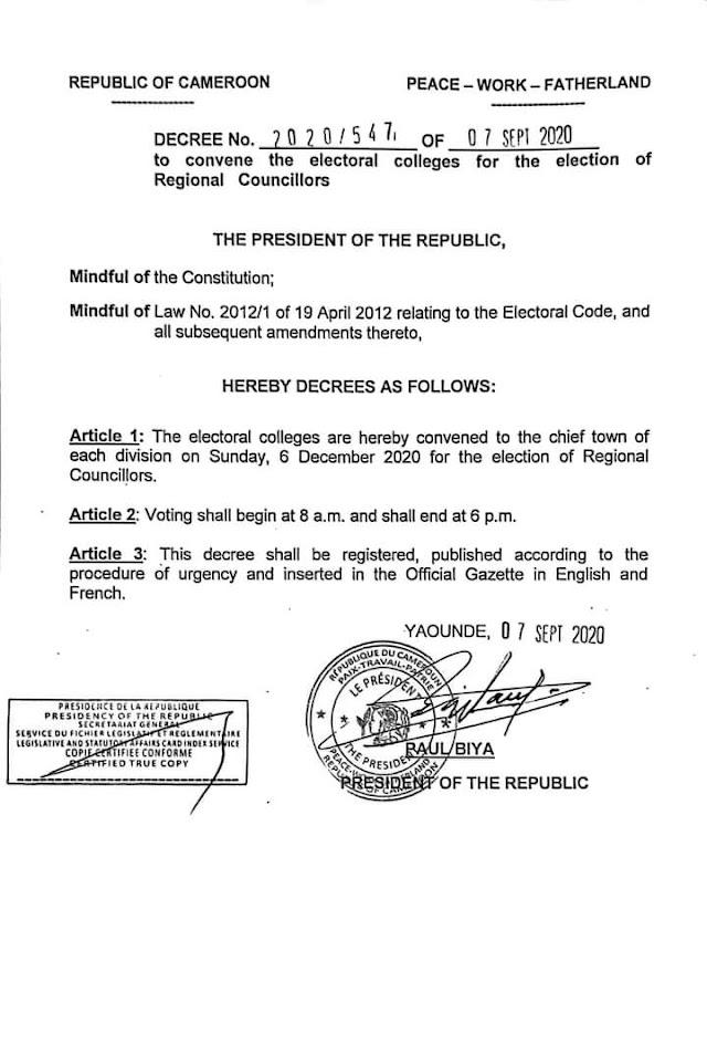 President Biya Convenes Regional Elections, Special status in sight