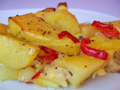 Omleta cu cartofi la cuptor reteta
