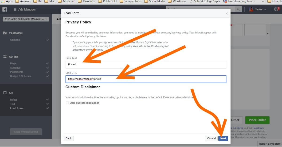 Facebook Ads Ad Lead Form Privasi