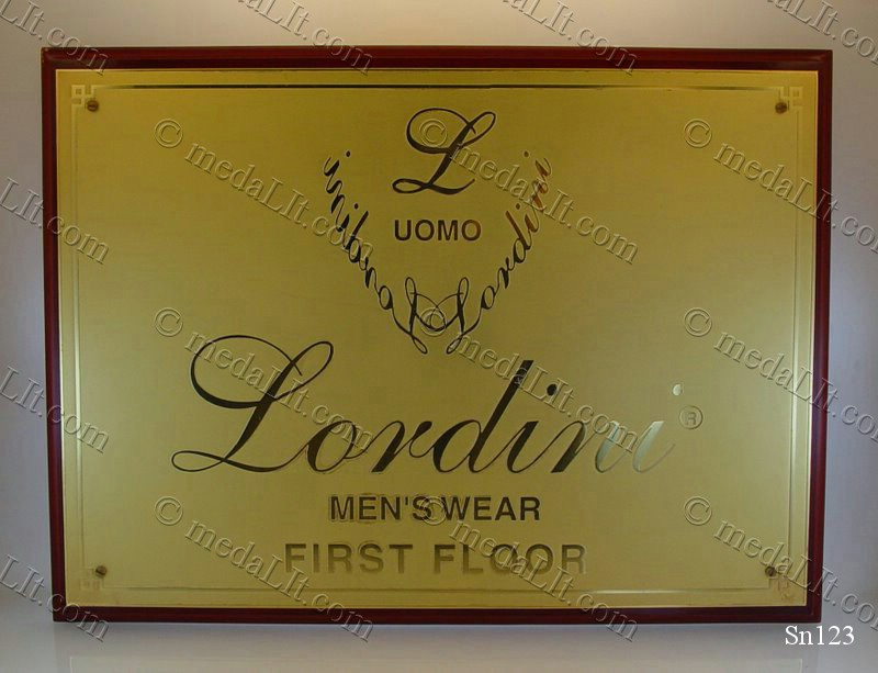 Gold plated brass sign plate