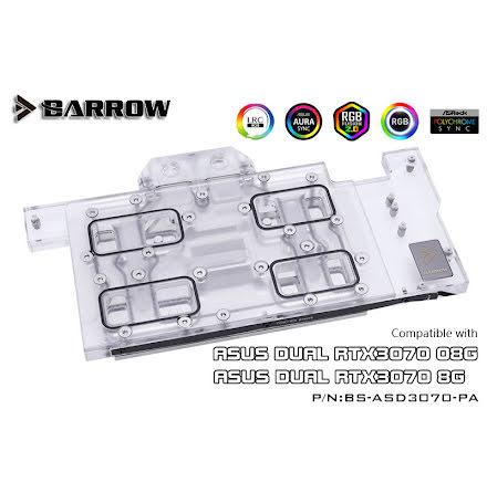 Barrow vannblokk for skjermkort ASUS Dual RTX™ 3070 - Nickel+Plexi