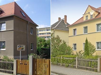 Fassade vorher nachher  Fassade streichen vorher-nachher Referenzen in Dresden, Chemnitz ...