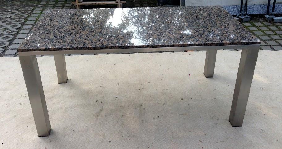 Naturstein braun wohnzimmertisch esstisch gartentisch gestell in edelstahl matt ebay for Wohnzimmertisch edelstahl