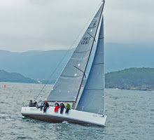 J/111 sailing upwind off Hong Kong, China