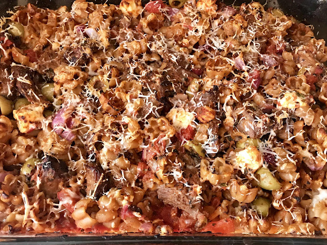 Greek pasta bake with lamb and tomato