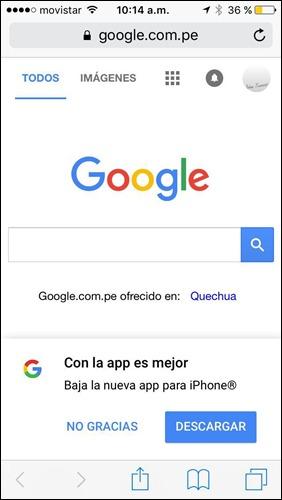 Pantalla de inicio de Google versión móvil