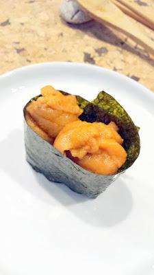 Uni sushi (sea urchin) at Nodoguro SupaHardCore May 29, 2016