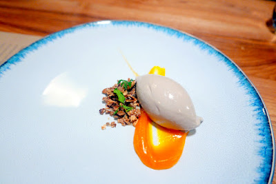 Farm Spirit Dinner in February 2016 - all vegan fine dining, this is the last course and our 2nd dessert, here Pumpkin seed ice cream, butternut, caramel, pumpkin seed milk, and granola