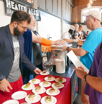 John Harris brewer of Ecliptic dressed in wrestling costume The Snackdown 2016 P.R.E.A.M. / Ecliptic Brewing was another favorite pairing of mine, staring a Beef Tartare with flavors of cheeseburger with Ecliptic's chocolatey and malty Capella Porter