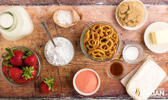 Strawberry Pretzel Cheesecake Salad ingredients
