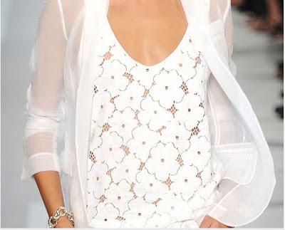 Blusa rendada e camisa de voal branco