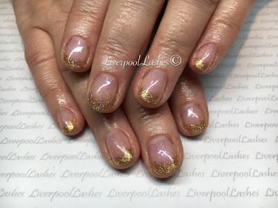 liverpoollashes liverpool lashes cnd shellac beau lecente glimente fierce glitter elegant gold nails blogger