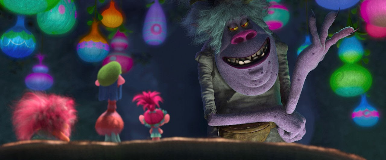 Trolls King Peppy (voiced by Jeffrey Tambor), Cooper (voiced by Ron Funches) Poppy (voiced by Anna Kendrick) and the fearsome Bergen Chef (voiced by Christine Baranski) in TROLLS. (Photo courtesy of DreamWorks Animation).