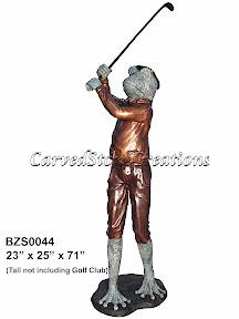 Bronze, Frog, Golfing, Statue