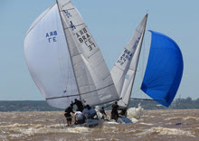J/24 one-design sailboats- sailing off Brazil