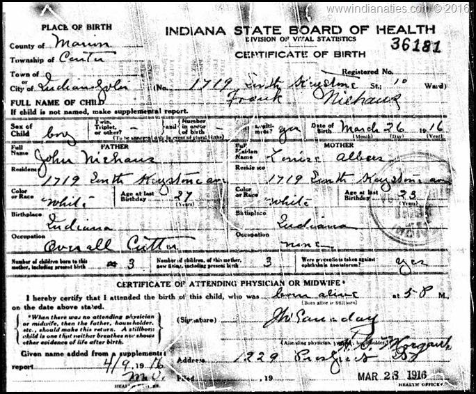 Niehaus, Frank, Birth Certificate, 1916