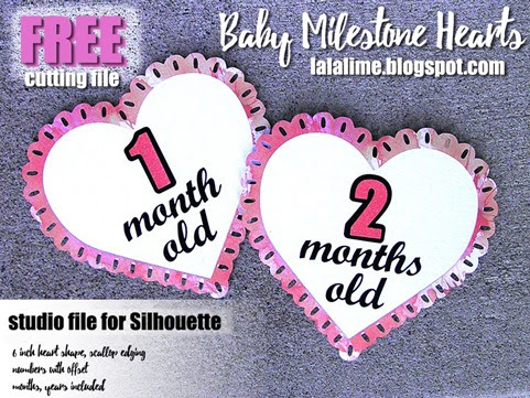 Baby Milestones Heart FREEBIE for your Silhouette