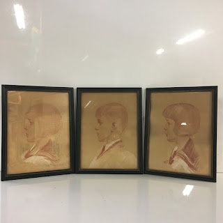 1930's Signed Chalk Drawing Trio