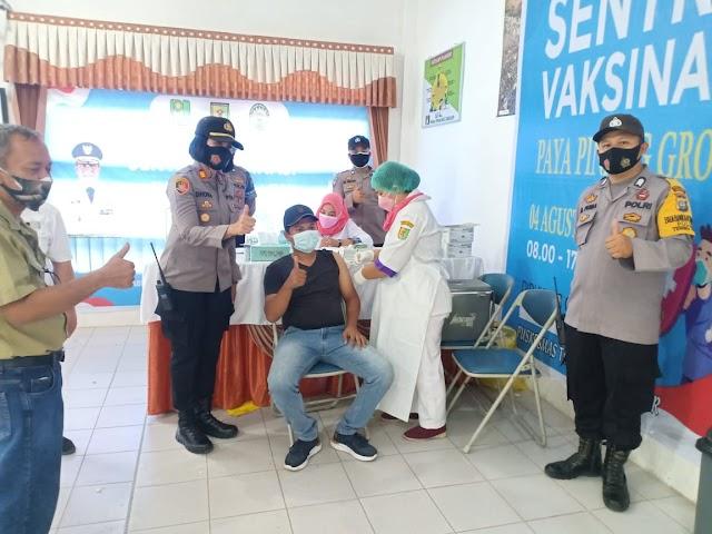 Polres Tebing Tinggi Monitoring Vaksinasi Tahap I Desa Paya Pinang