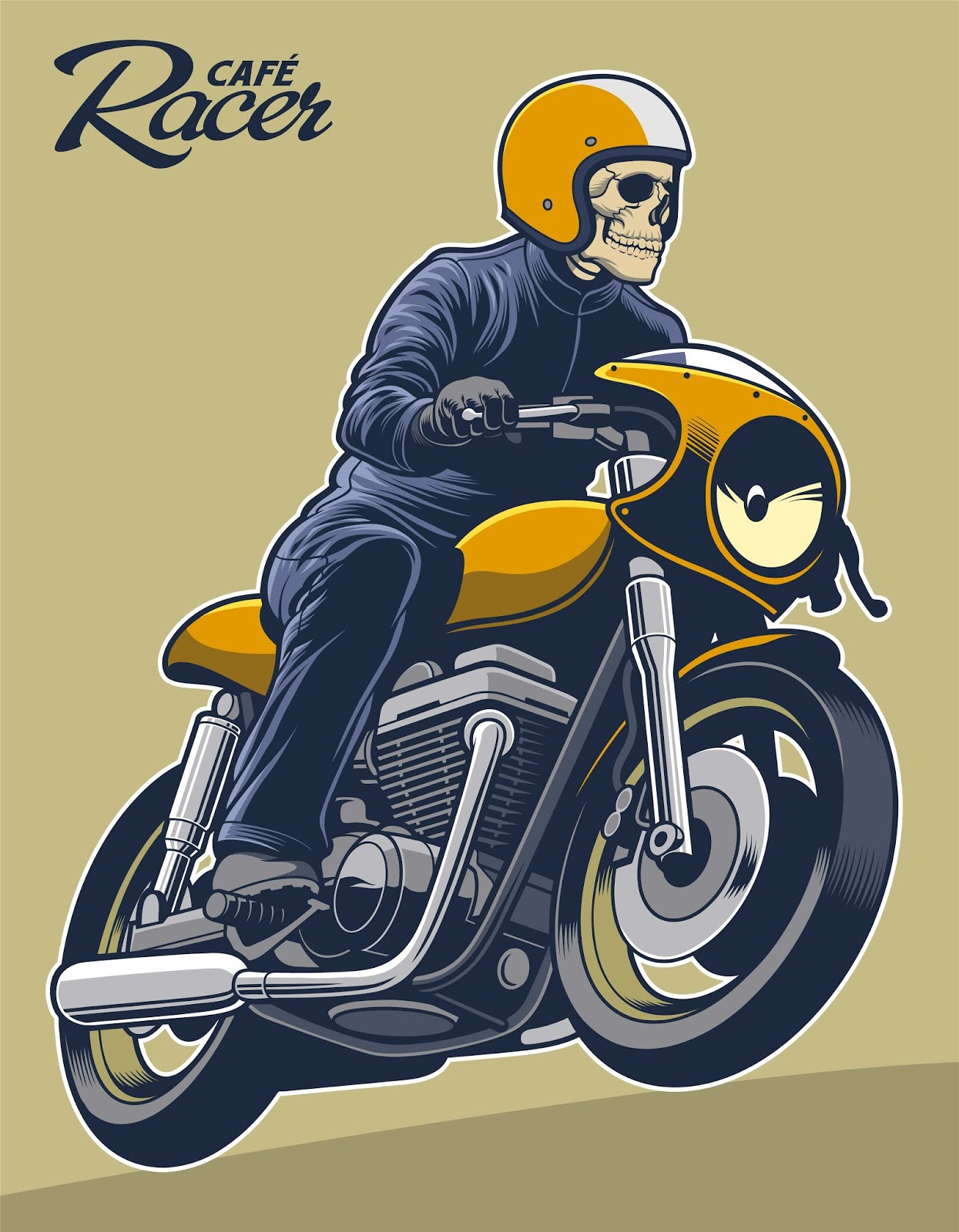Cafe Racer Vector Illustration Free Download Vector CDR, AI, EPS and PNG Formats