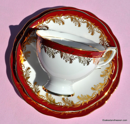 1950s fine bone china teacup, saucer, tea plate