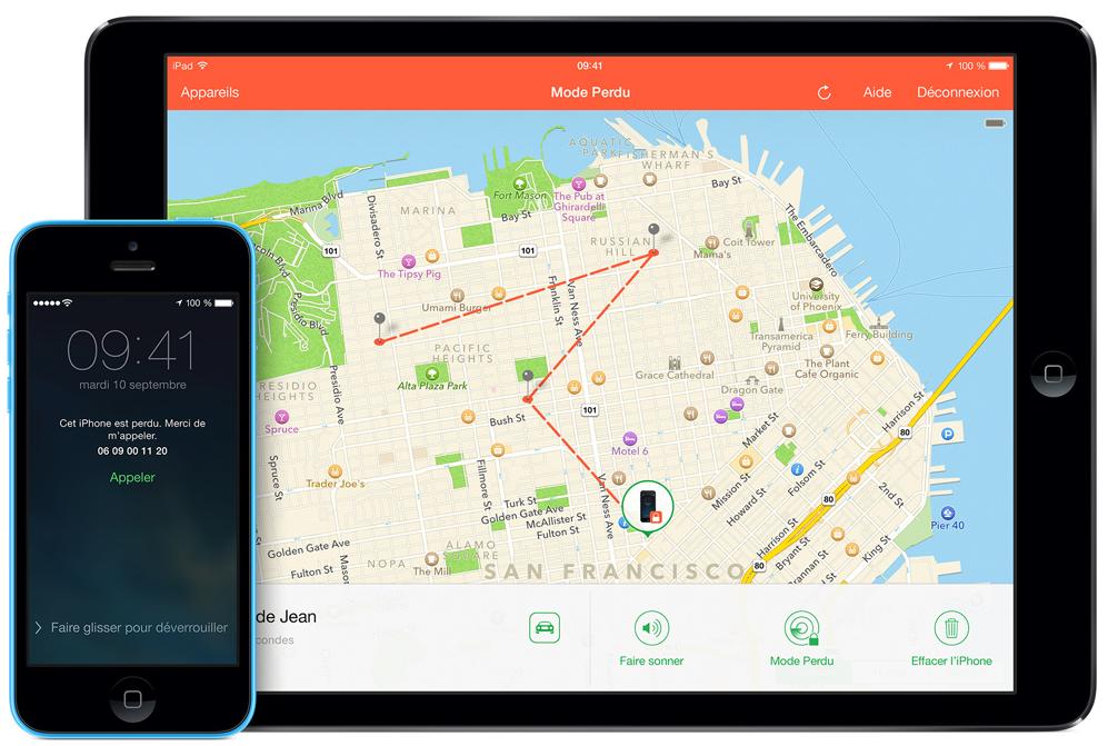 Géolocalisation d'un téléphone portable interface