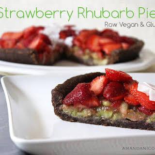 Raw Vegan Strawberry Rhubarb Pie.
