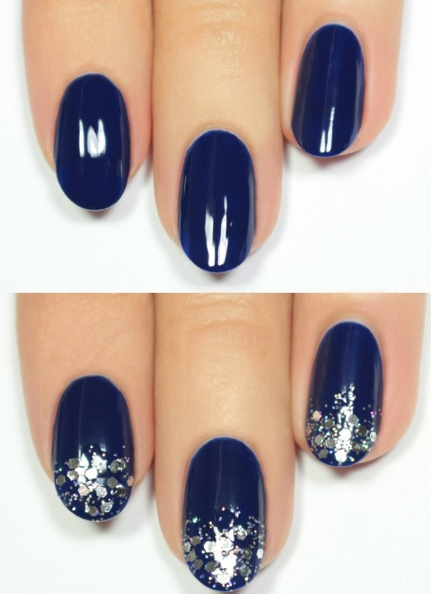 Top Navy Blue and Silver Glitter Nail Tutorial For 2016 | Fashionte