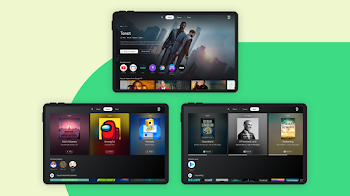Android devices show the Entertainment Space display, highlighting the different forms of media available.