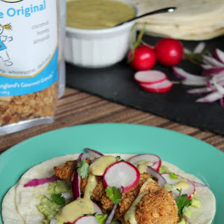 Oven-Fried Granola Chicken Tacos with Mango Crema