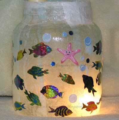 Decoupaged Glass Jar - Pretend Fish Tank Aquarium